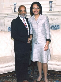 Rene Preval and Condoleezza Rice