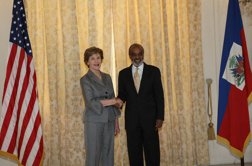 Rene Preval and Laura Bush