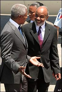 Rene Preval and UN Secretary-General Kofi Annan