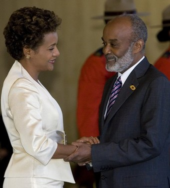 Rene Preval and Michaelle Jean