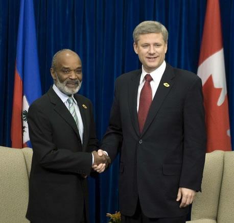 Rene Preval and Stephen Harper, Canada Prime Minister