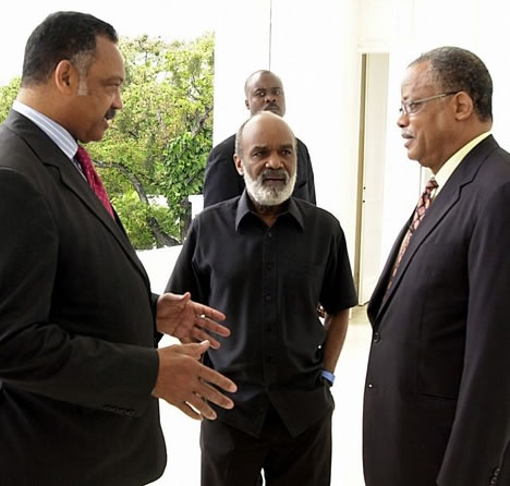 Rene Preval, Jesse Jackson, and Fritz Longchamps at Palais National Haiti