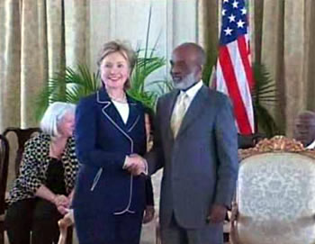 President Rene Preval and Hillary Clinton