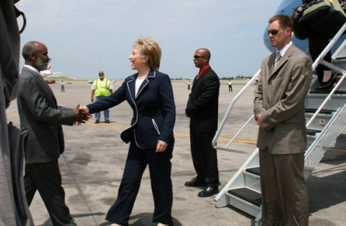 Hillary Clinton and Rene Preval in Haiti