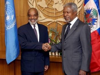 Rene Preval and Kofi Annan